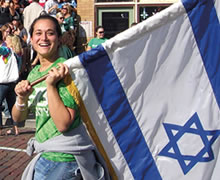 Student waves Israel flag.