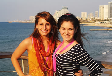 Students in Tel Aviv, Israel on a Taglit-Birthright Israel: Hillel Trip.