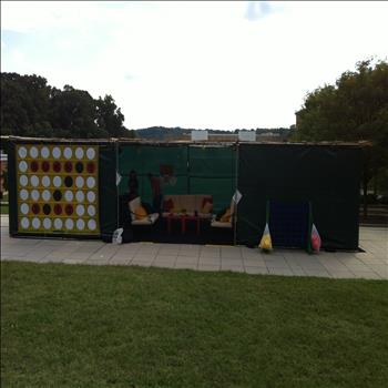 UMBC Hillel Sukkah with Connect Four theme.