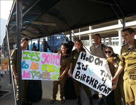Israeli soldiers greeting their Taglt Birthright Israel Hillel Trip Bus 1063 from Indiana University Hillel.