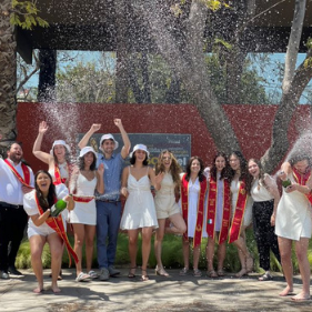 USC students spray champagne and celebrate