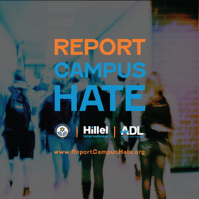 """Orange and blue text saying """"Report Campus Hate"""" over a blurred picture of a school hallway"""