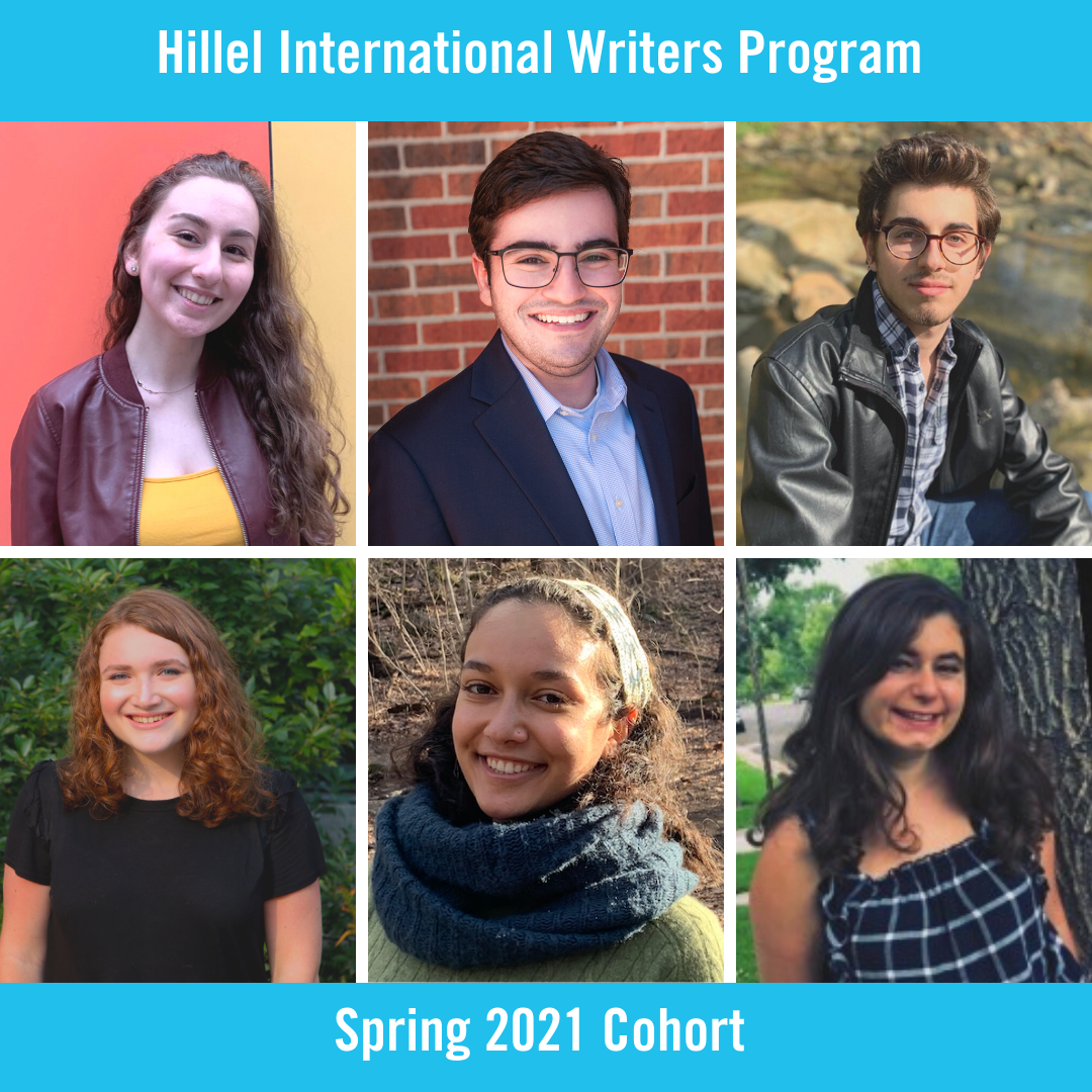 Image showing head shots of each of the six writers in the Spring 2021 Cohort of the Hillel International Writers Program