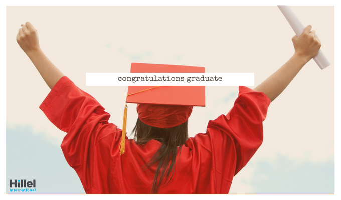 """Congratulations graduate"" with image of woman in red graduation gown holding up diploma"