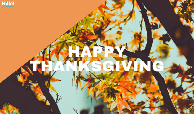 """Happy Thanksgiving"" with image of tree with orange foliage"