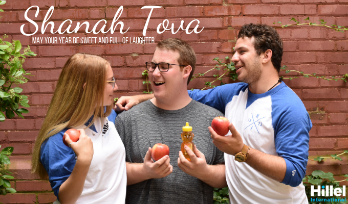 shanah tova may your year be sweet and full of laughter three interns izzy yogev joel apples honey