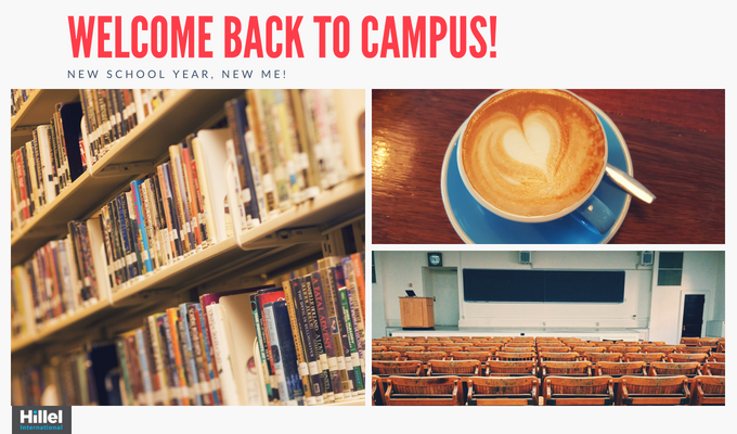 """Welcome back to campus! New School year, new me!"" with images of books, coffee, and a lecture hall"