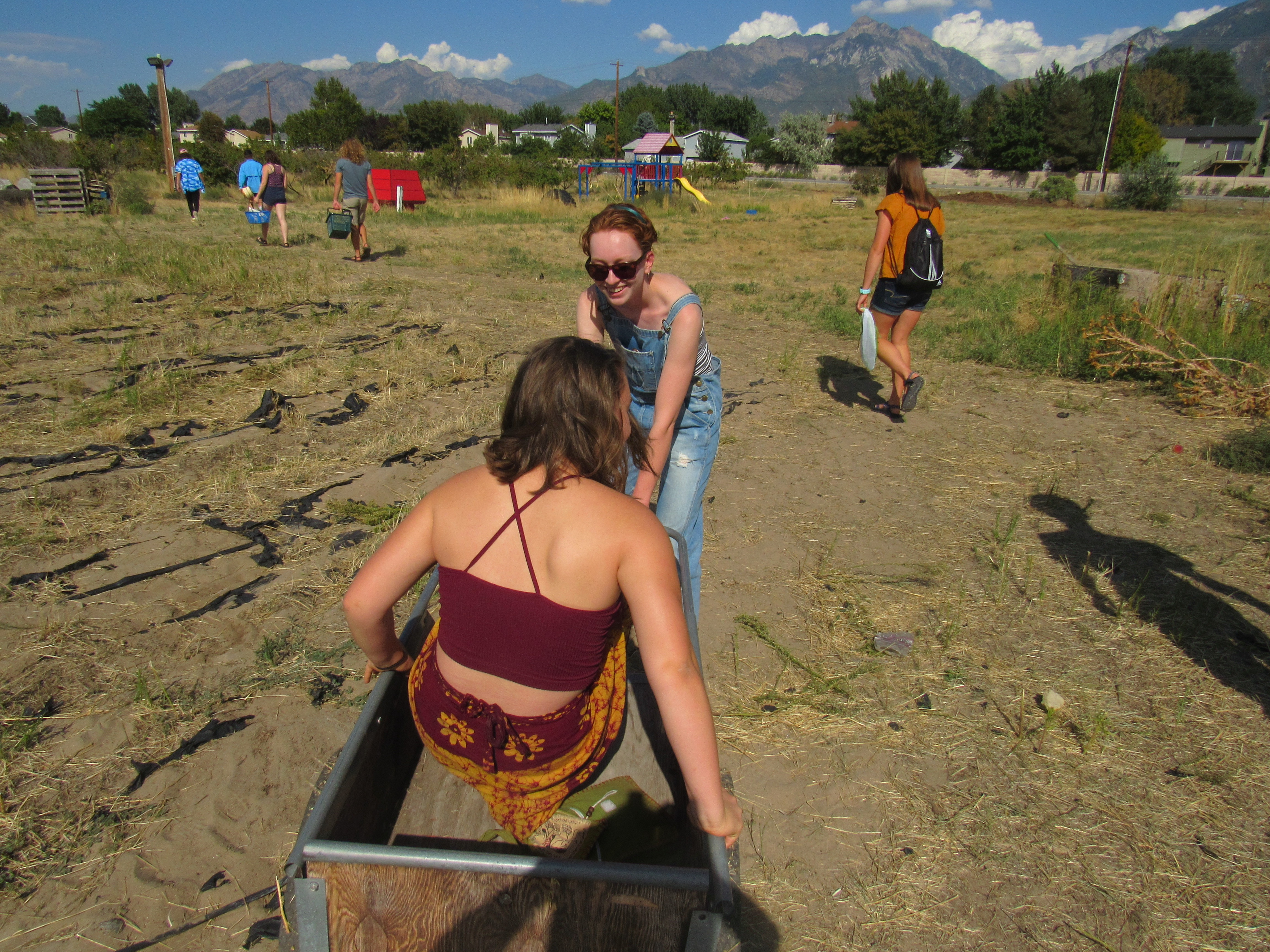 A girl with brown hair and a red shirt sits in a wheelbarrow in a field as her friend pulls her along.